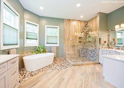 Natural look Master bathroom remodel in Maryland